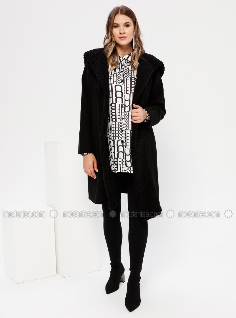Black - Unlined - Acrylic - Plus Size Coat