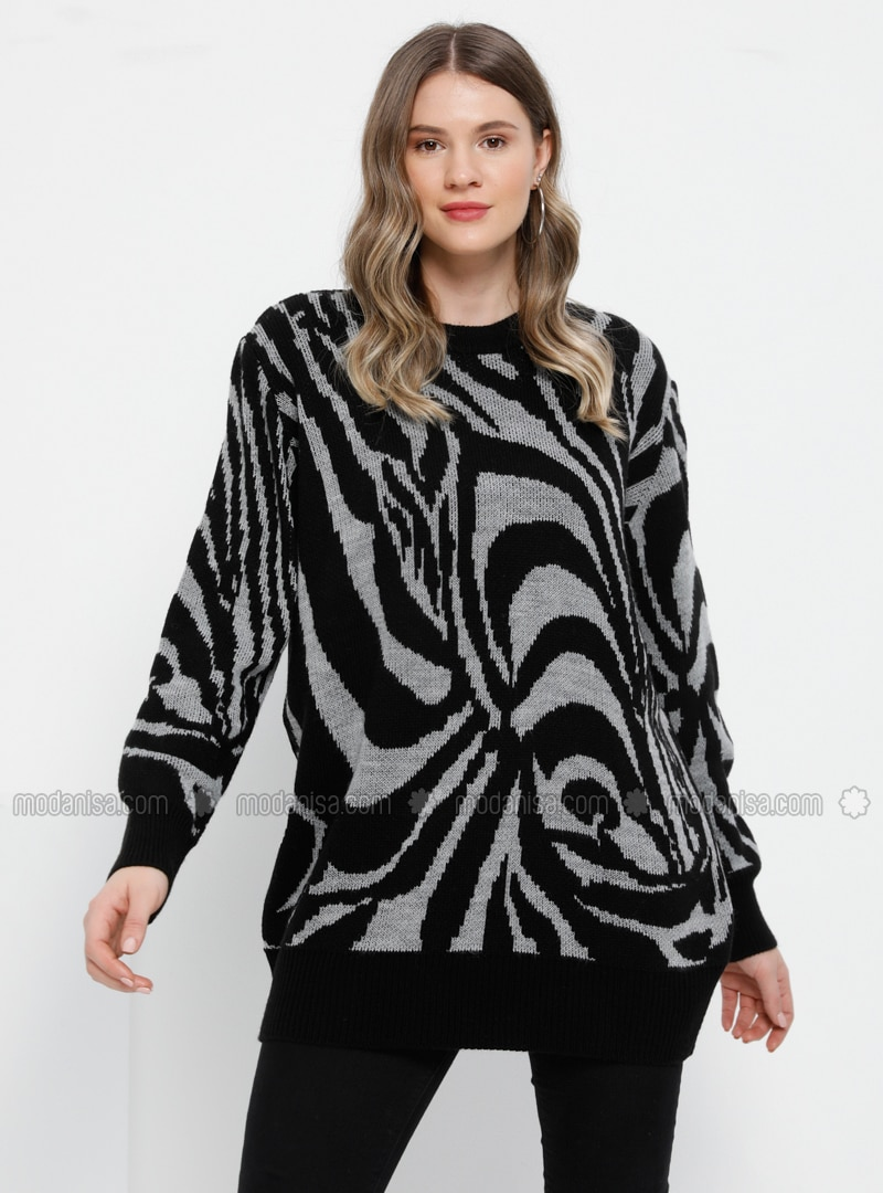 Gray - Black - Multi - Crew neck - Acrylic - - Plus Size Jumper