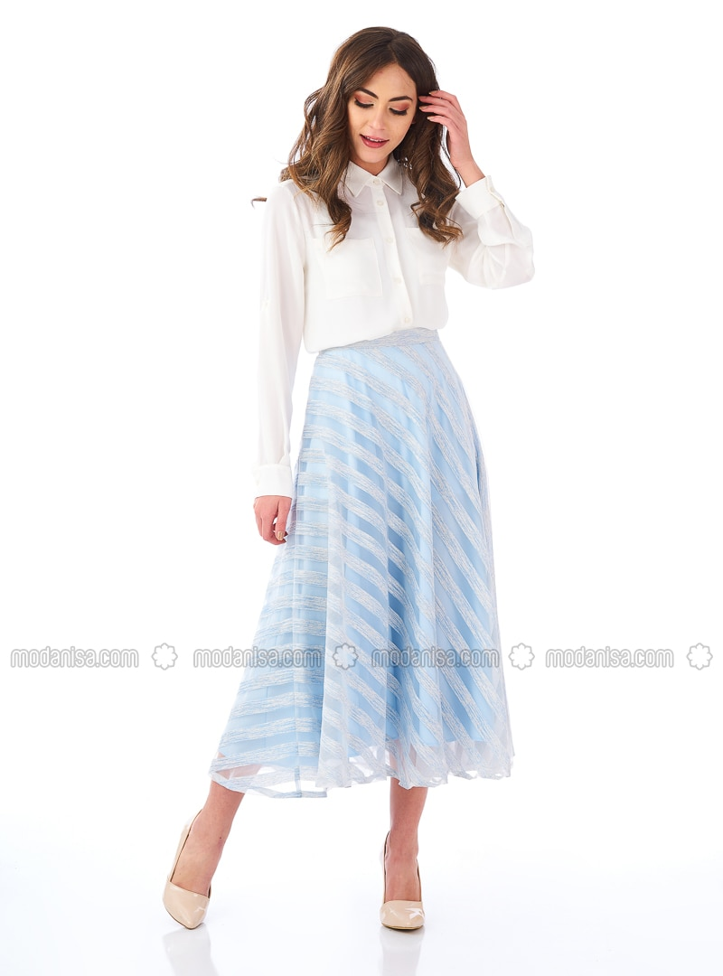 Blue - Stripe - Fully Lined - Skirt