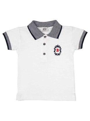 Polo - White - Navy Blue - Girls` T-Shirt