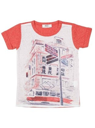 Multi - Crew neck - Multi - Red - Girls` T-Shirt