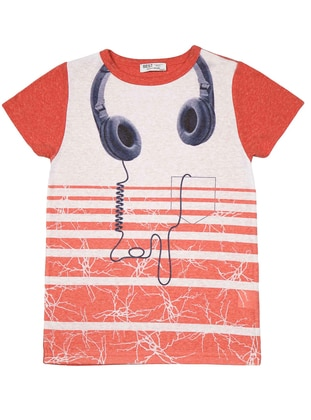 Stripe - Multi - Crew neck - Red - Girls` T-Shirt
