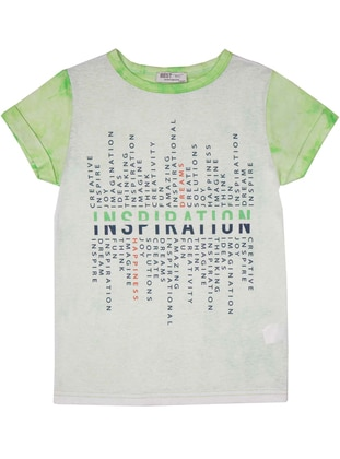 Multi - Crew neck - Green - Boys` T-Shirt