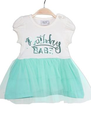 Crew neck - Ecru - Green - Baby Dress