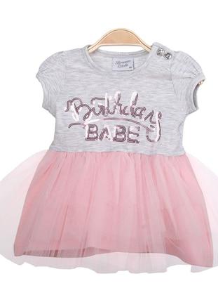 Crew neck - Gray - Pink - Baby Dress