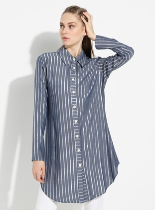 Blue - Stripe - Point Collar -  - Blouses