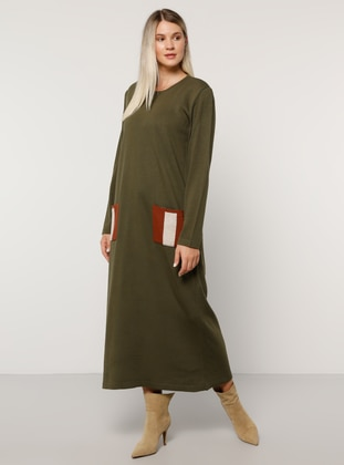 Khaki - Unlined - Crew neck - Acrylic -  - Plus Size Dress - Alia
