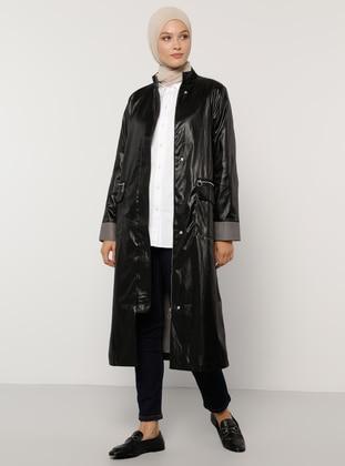 Black - Houndstooth - Unlined - Crew neck - Trench Coat