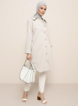 Beige - Unlined - Point Collar - Viscose - Jacket