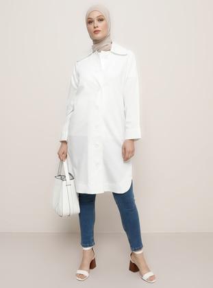 White - Ecru - Unlined - Point Collar - Viscose - Jacket