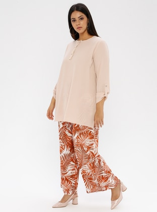 Terra Cotta - Floral -  - Plus Size Pants