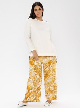 Khaki - Floral -  - Plus Size Pants