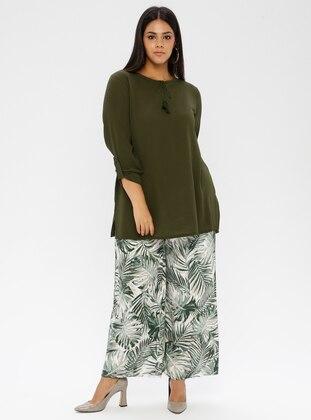 Green - Floral -  - Plus Size Pants