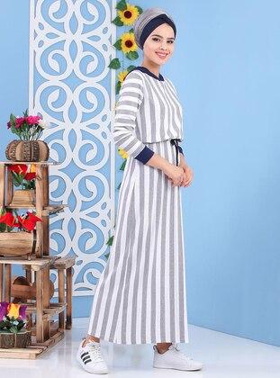Gray - Stripe - Crew neck -  - Dress