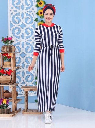 Navy Blue - Stripe - Crew neck -  - Dress