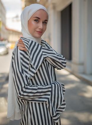 Black - Stripe -  - Dress