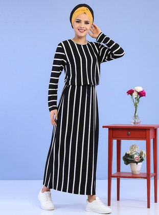Black - Stripe - Crew neck - Cotton - Dress