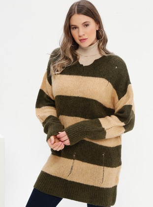 Khaki - Stripe - V neck Collar - Acrylic -  - Plus Size Jumper