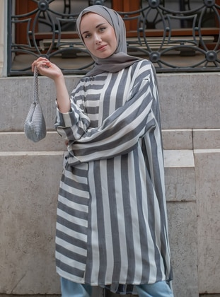 Black - Stripe -  - Tunic