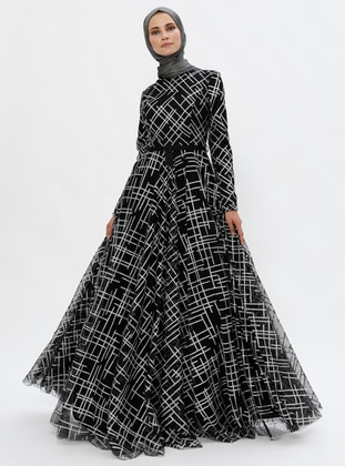 Black - Geometric - Fully Lined - Crew neck - Muslim Evening Dress