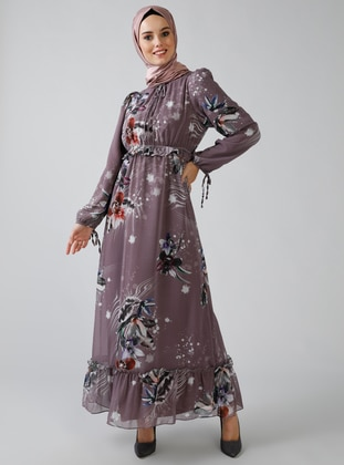 Dusty Rose - Multi - Crew neck - Fully Lined - Dress