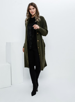 Khaki - Acrylic -  - Plus Size Cardigan - Alia