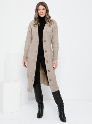 Mink - Acrylic -  - Plus Size Cardigan