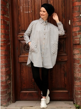 Black - Stripe - Point Collar - Blouses - Por La Cara