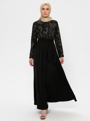 Gold - Black - Unlined - Crew neck - Muslim Evening Dress