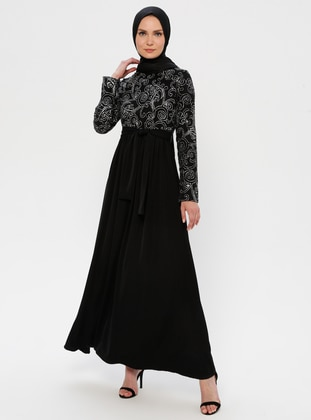 Silver tone - Black - Unlined - Crew neck - Muslim Evening Dress