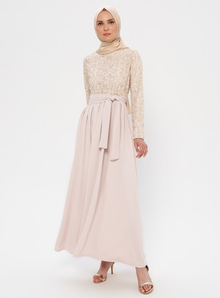 Cream - Powder - Unlined - Crew neck - Muslim Evening Dress