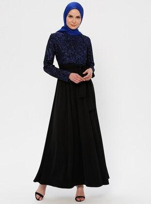 Saxe - Black - Unlined - Crew neck - Muslim Evening Dress