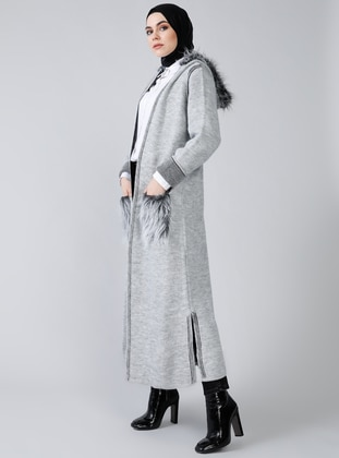 Gray - Acrylic -  - Cardigan - Refka