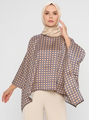 Purple - Houndstooth - Button Collar - Unlined - Poncho