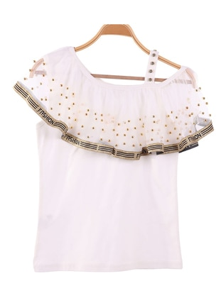 Boat neck - Unlined - White - Girls` T-Shirt - Breeze Girls&Boys
