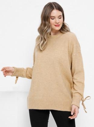 Camel - Crew neck - Acrylic -  - Plus Size Jumper