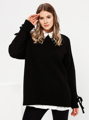 Black - Crew neck - Acrylic -  - Plus Size Jumper - Alia