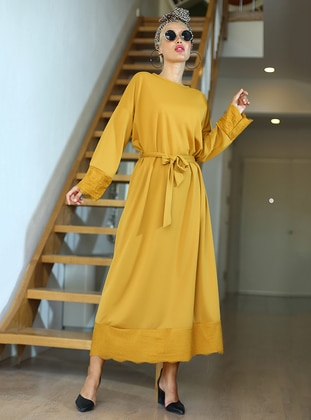 Mustard - Crew neck - Unlined - Dress