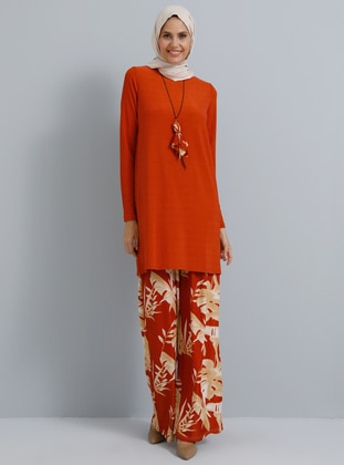 Terra Cotta - Floral - Unlined - Suit - Tavin