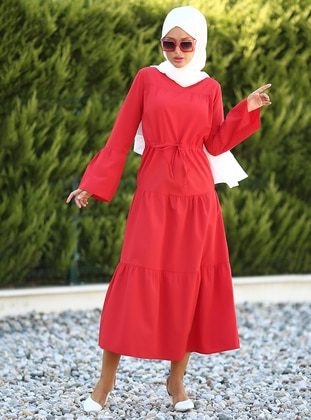 Red - Crew neck - Unlined - Dress