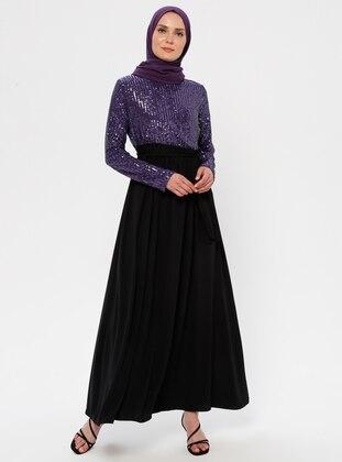 Purple - Black - Unlined - Crew neck - Muslim Evening Dress