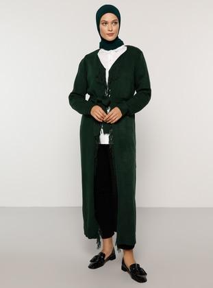 Green - Emerald - Acrylic - - Cardigan