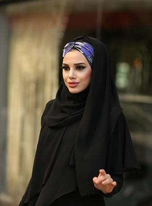 Black - Patterned Side - Shawl