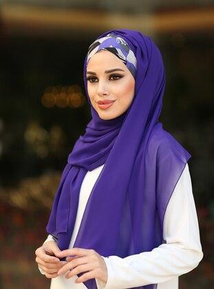 Purple - Patterned Side - Shawl