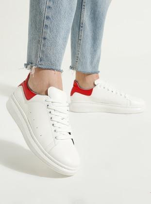 White - Red - Casual - Sports Shoes