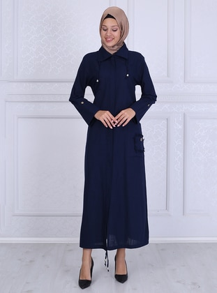 Navy Blue - Unlined - Point Collar -  - Abaya
