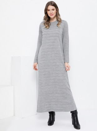 Gray - Unlined - Crew neck - Acrylic -  - Plus Size Dress