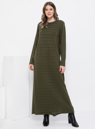 Khaki - Unlined - Crew neck - Acrylic -  - Plus Size Dress