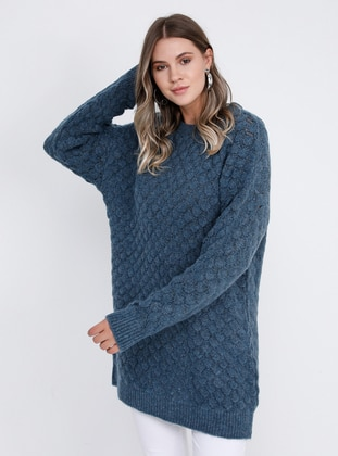 Petrol - Crew neck -  - Plus Size Jumper - Alia