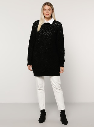 Black - Crew neck -  - Plus Size Jumper - Alia